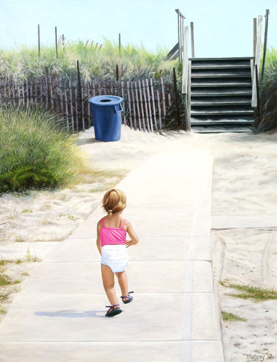 Painting of girl on the beach